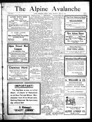 The Alpine Avalanche (Alpine, Tex.), Vol. 23, No. 39, Ed. 1 Thursday, September 25, 1913