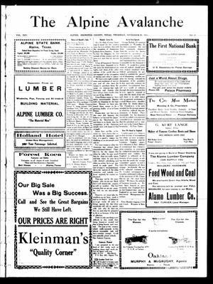 The Alpine Avalanche (Alpine, Tex.), Vol. 45, No. 47, Ed. 1 Thursday, November 25, 1915
