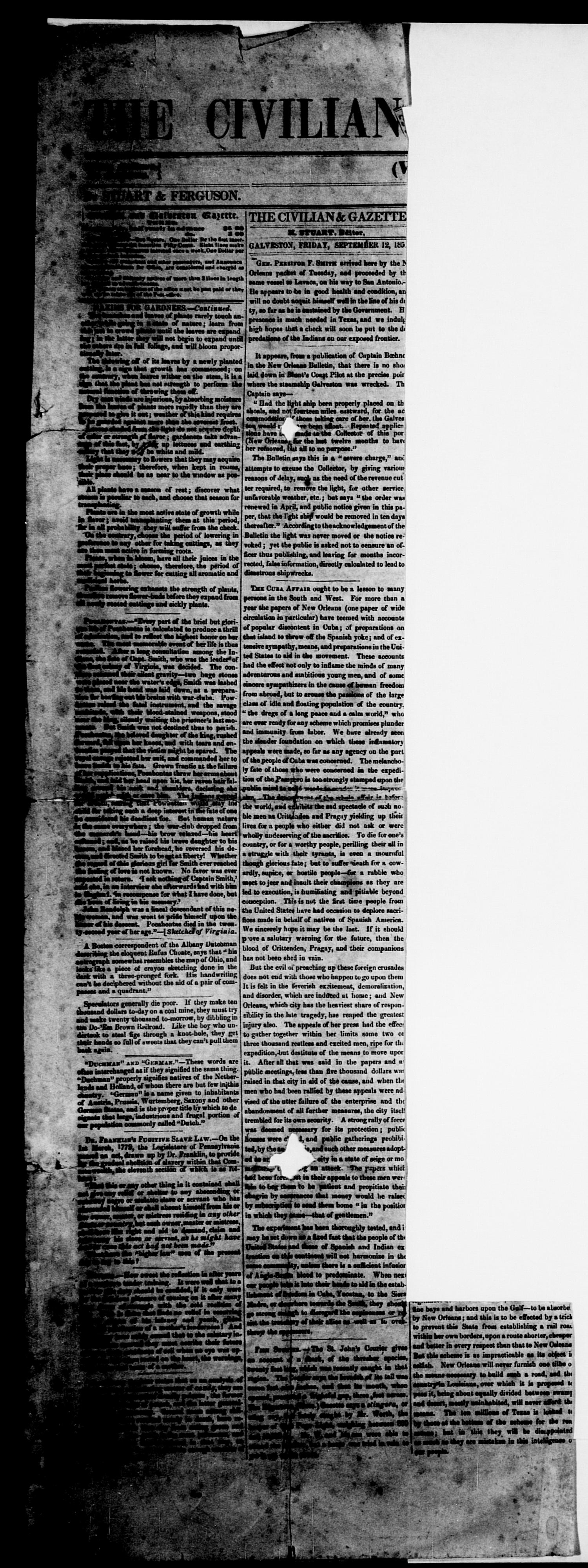 The Civilian and Galveston Gazette. (Galveston, Tex.), Vol. 13, Ed. 1, Friday, September 12, 1851                                                                                                      [Sequence #]: 1 of 4