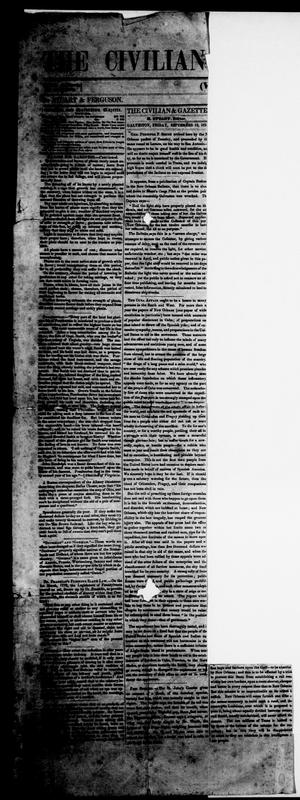 Primary view of object titled 'The Civilian and Galveston Gazette. (Galveston, Tex.), Vol. 13, Ed. 1, Friday, September 12, 1851'.
