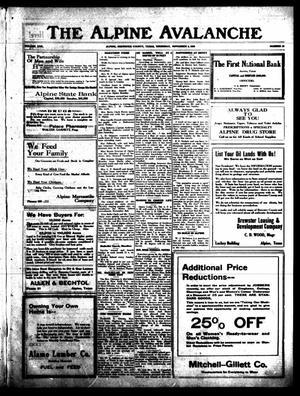 The Alpine Avalanche (Alpine, Tex.), Vol. 30, No. 45, Ed. 1 Thursday, November 4, 1920