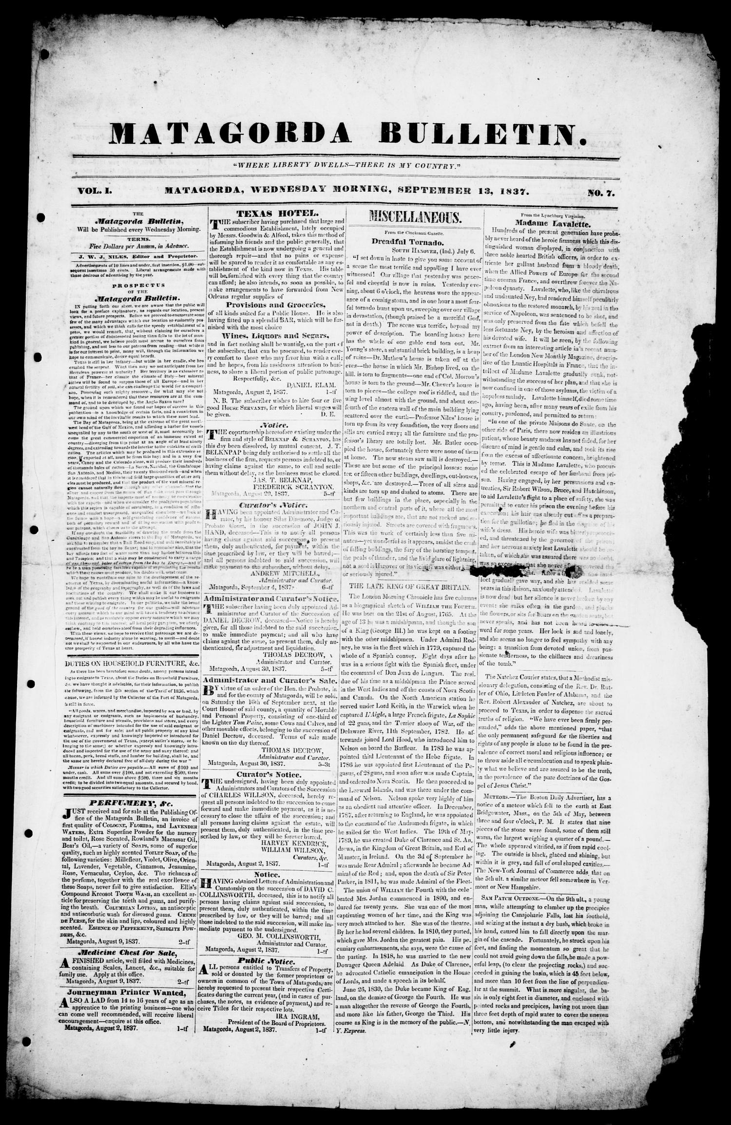 Matagorda Bulletin. (Matagorda, Tex.), Vol. 1, No. 7, Ed. 1, Wednesday, September 13, 1837                                                                                                      [Sequence #]: 1 of 4