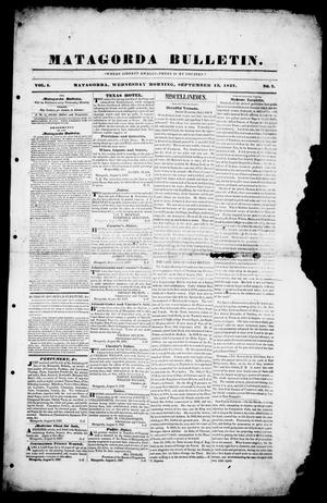 Matagorda Bulletin. (Matagorda, Tex.), Vol. 1, No. 7, Ed. 1, Wednesday, September 13, 1837