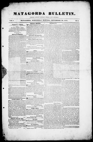 Primary view of object titled 'Matagorda Bulletin. (Matagorda, Tex.), Vol. 1, No. 8, Ed. 1, Wednesday, September 20, 1837'.