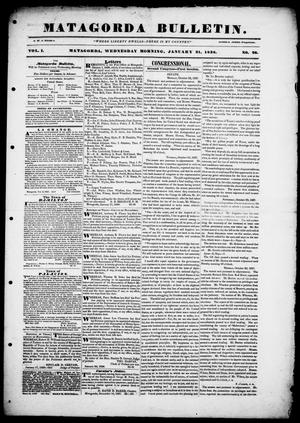 Primary view of object titled 'Matagorda Bulletin. (Matagorda, Tex.), Vol. 1, No. 26, Ed. 1, Wednesday, January 31, 1838'.