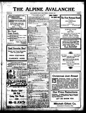 The Alpine Avalanche (Alpine, Tex.), Vol. 30, No. 49, Ed. 1 Thursday, December 2, 1920