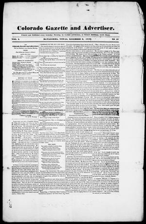Primary view of object titled 'Colorado Gazette and Advertiser. (Matagorda, Tex.), Vol. 1, No. 17, Ed. 1, Saturday, November 9, 1839'.