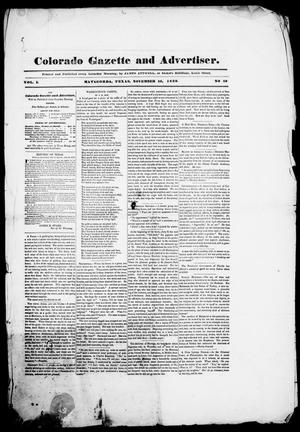 Primary view of object titled 'Colorado Gazette and Advertiser. (Matagorda, Tex.), Vol. 1, No. 18, Ed. 1, Saturday, November 16, 1839'.