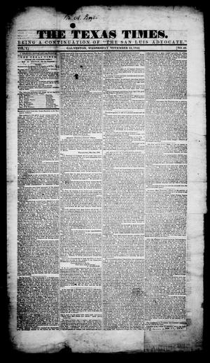 Primary view of object titled 'The Texas Times. (Galveston, Tex.), Vol. 1, No. 48, Ed. 1, Wednesday, November 23, 1842'.