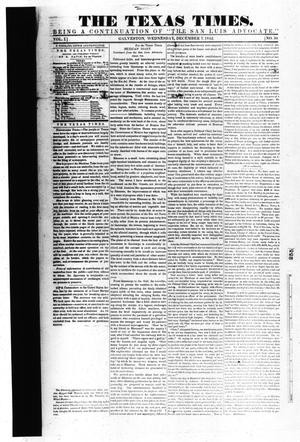 Primary view of object titled 'The Texas Times. (Galveston, Tex.), Vol. 1, No. 50, Ed. 1, Wednesday, December 7, 1842'.
