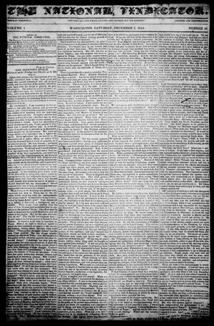 Primary view of object titled 'The National Vindicator. (Washington, Tex.), Vol. 1, No. 16, Ed. 1, Saturday, December 2, 1843'.