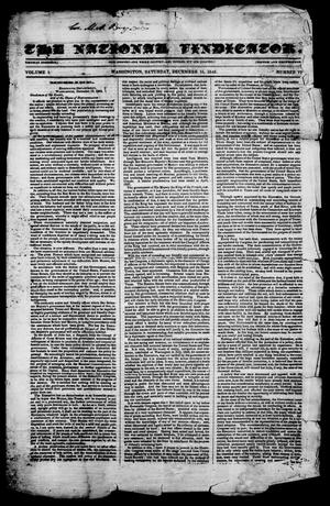Primary view of object titled 'The National Vindicator. (Washington, Tex.), Vol. 1, No. 17, Ed. 1, Saturday, December 16, 1843'.