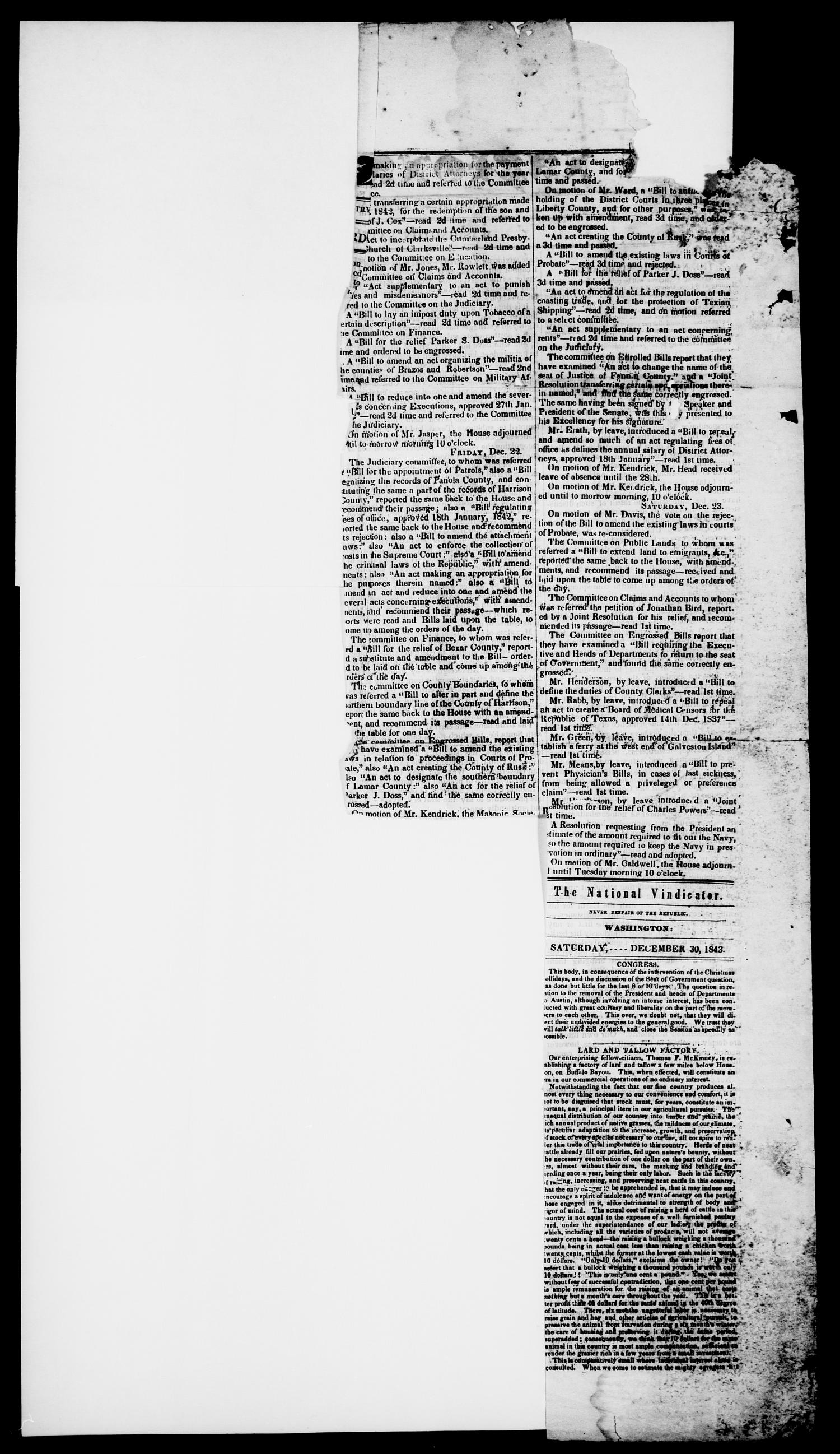 The National Vindicator. (Washington, Tex.), Vol. 1, No. 18, Ed. 1, Saturday, December 23, 1843                                                                                                      [Sequence #]: 2 of 4