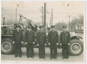 Primary view of object titled '[Dallas Old Fire Station 3 Firefighters and Engine]'.