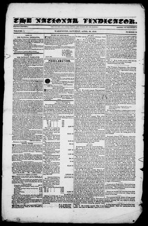 Primary view of The National Vindicator. (Washington, Tex.), Vol. 1, No. 35, Ed. 1, Saturday, April 20, 1844