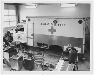 Primary view of object titled '[Dallas Fire Department Ambulance Repair]'.