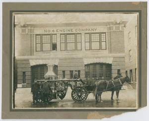 Primary view of object titled '[Horse-Drawn Fire Engine In Front of Station 4]'.