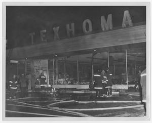 Primary view of object titled '[Firefighters at a Texhoma Store]'.