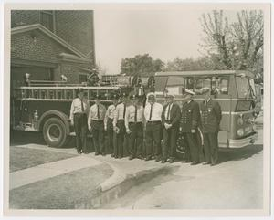Primary view of object titled '[Dallas Firefighters and Truck]'.