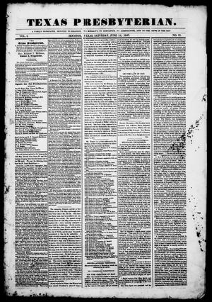 Primary view of object titled 'Texas Presbyterian. (Houston, Tex.), Vol. 1, No. 13, Ed. 1, Saturday, June 12, 1847'.
