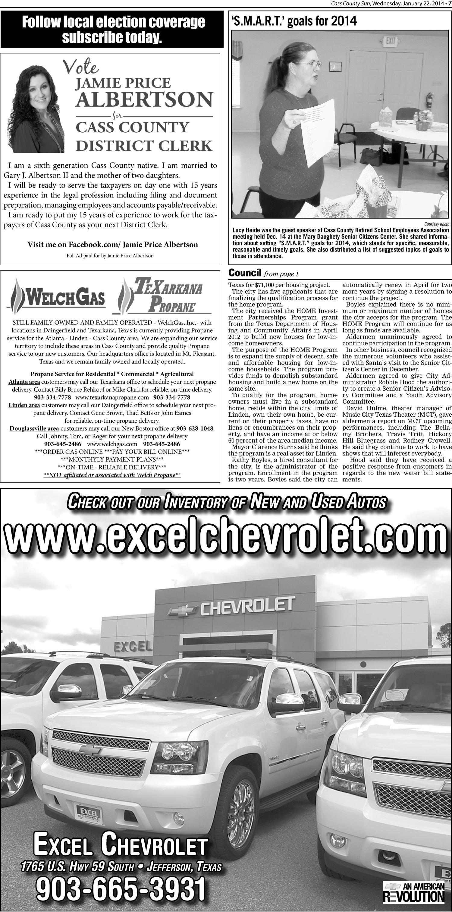 The Cass County Sun (Linden, Tex.), Vol. 139, No. 4, Ed. 1 Wednesday,  January 22, 2014   Page 7 Of 10   The Portal To Texas History