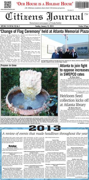 Primary view of object titled 'Citizens Journal (Atlanta, Tex.), Vol. 135, No. 4, Ed. 1 Sunday, January 12, 2014'.
