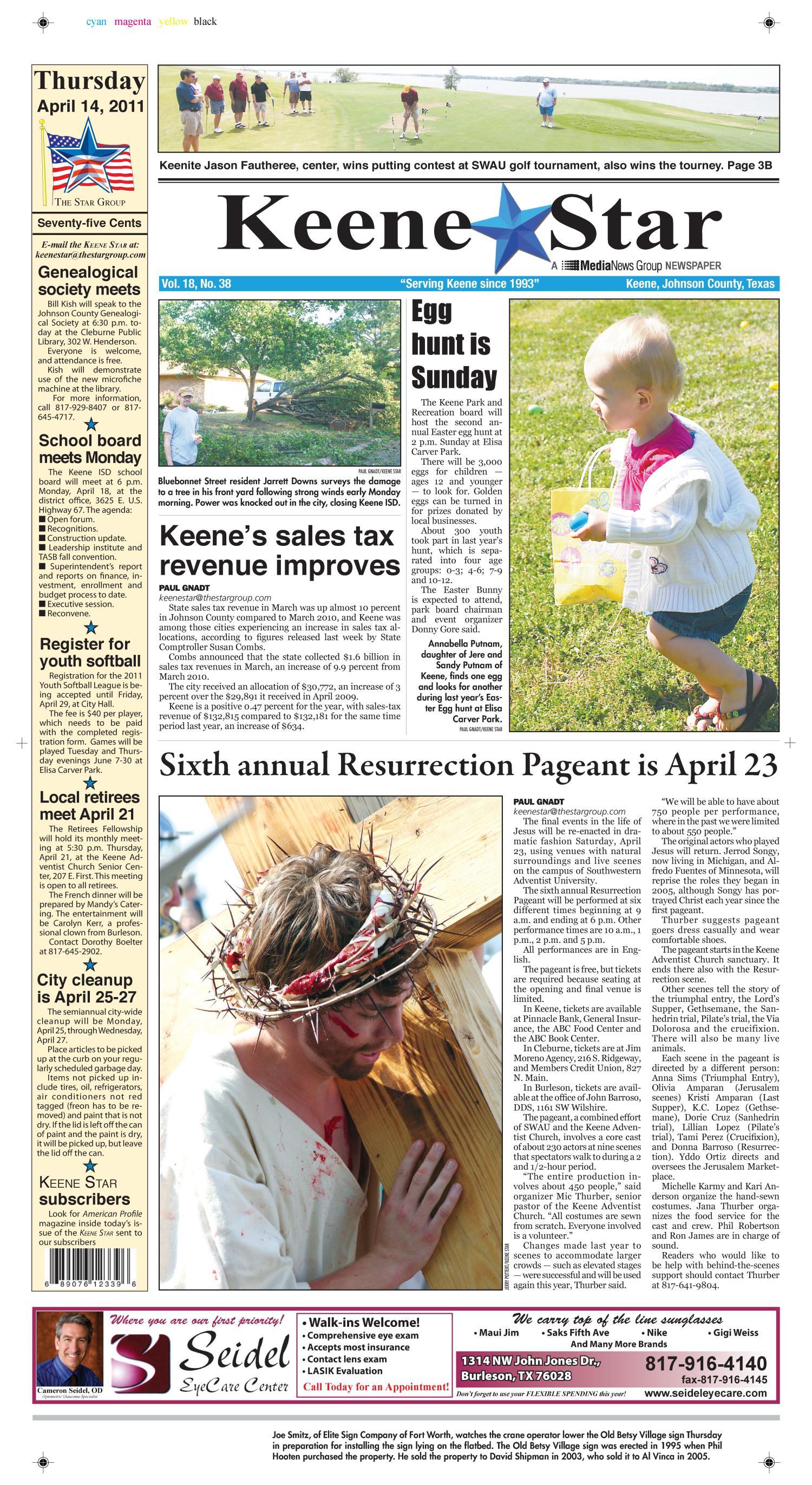Keene Star (Keene, Tex ), Vol  18, No  38, Ed  1 Thursday, April 14