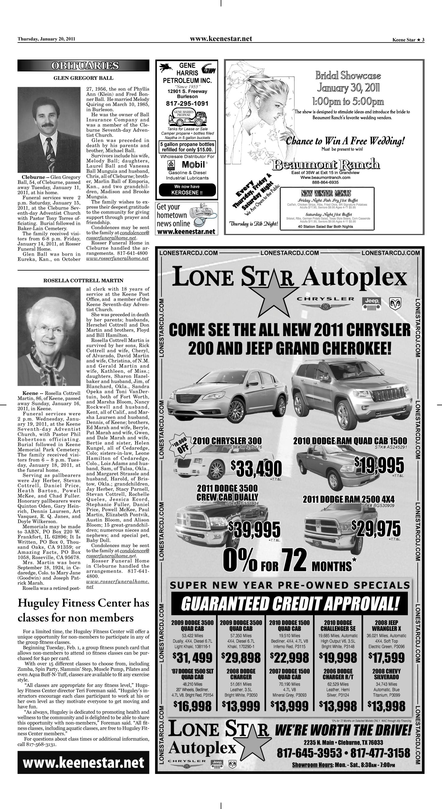 Keene Star (Keene, Tex.), Vol. 18, No. 26, Ed. 1 Thursday, January 20, 2011                                                                                                      [Sequence #]: 3 of 14
