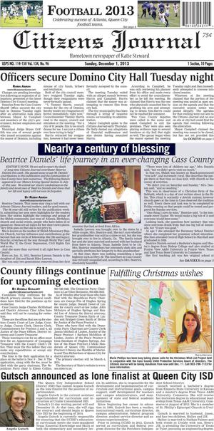 Primary view of object titled 'Citizens Journal (Atlanta, Tex.), Vol. 134, No. 96, Ed. 1 Sunday, December 1, 2013'.