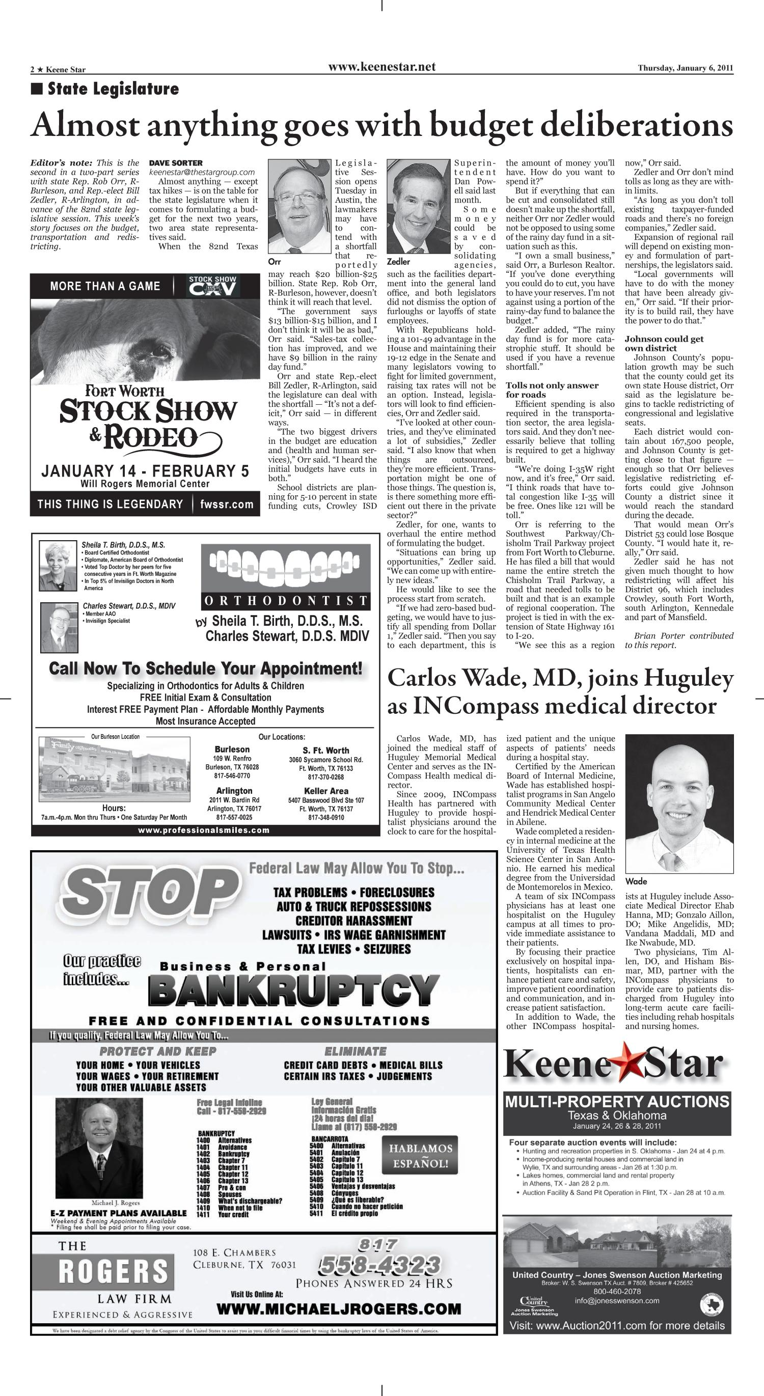Keene Star (Keene, Tex.), Vol. 18, No. 24, Ed. 1 Thursday, January 6, 2011                                                                                                      [Sequence #]: 2 of 12