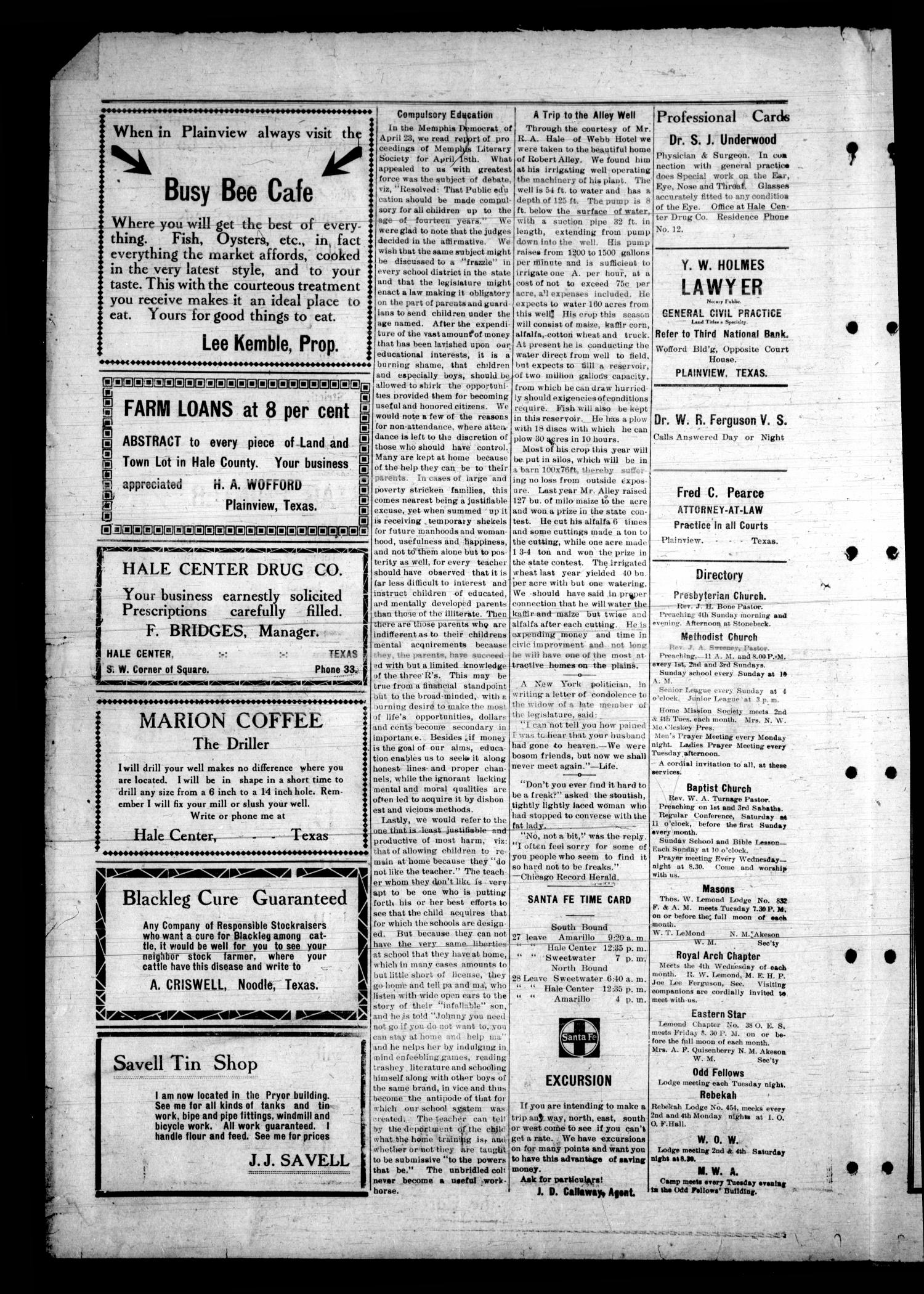 Hale Center Live-Wire. (Hale Center, Tex.), Vol. 4, No. 32, Ed. 1 Friday, May 2, 1913                                                                                                      [Sequence #]: 2 of 4