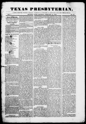 Primary view of object titled 'Texas Presbyterian. (Houston, Tex.), Vol. 1, No. 49, Ed. 1, Saturday, February 19, 1848'.