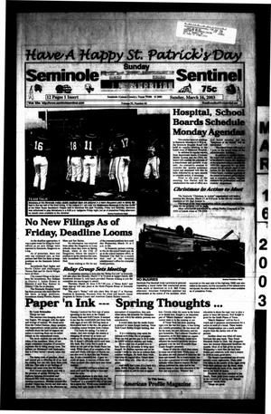 Primary view of object titled 'Seminole Sentinel (Seminole, Tex.), Vol. 95, No. 44, Ed. 1 Sunday, March 16, 2003'.