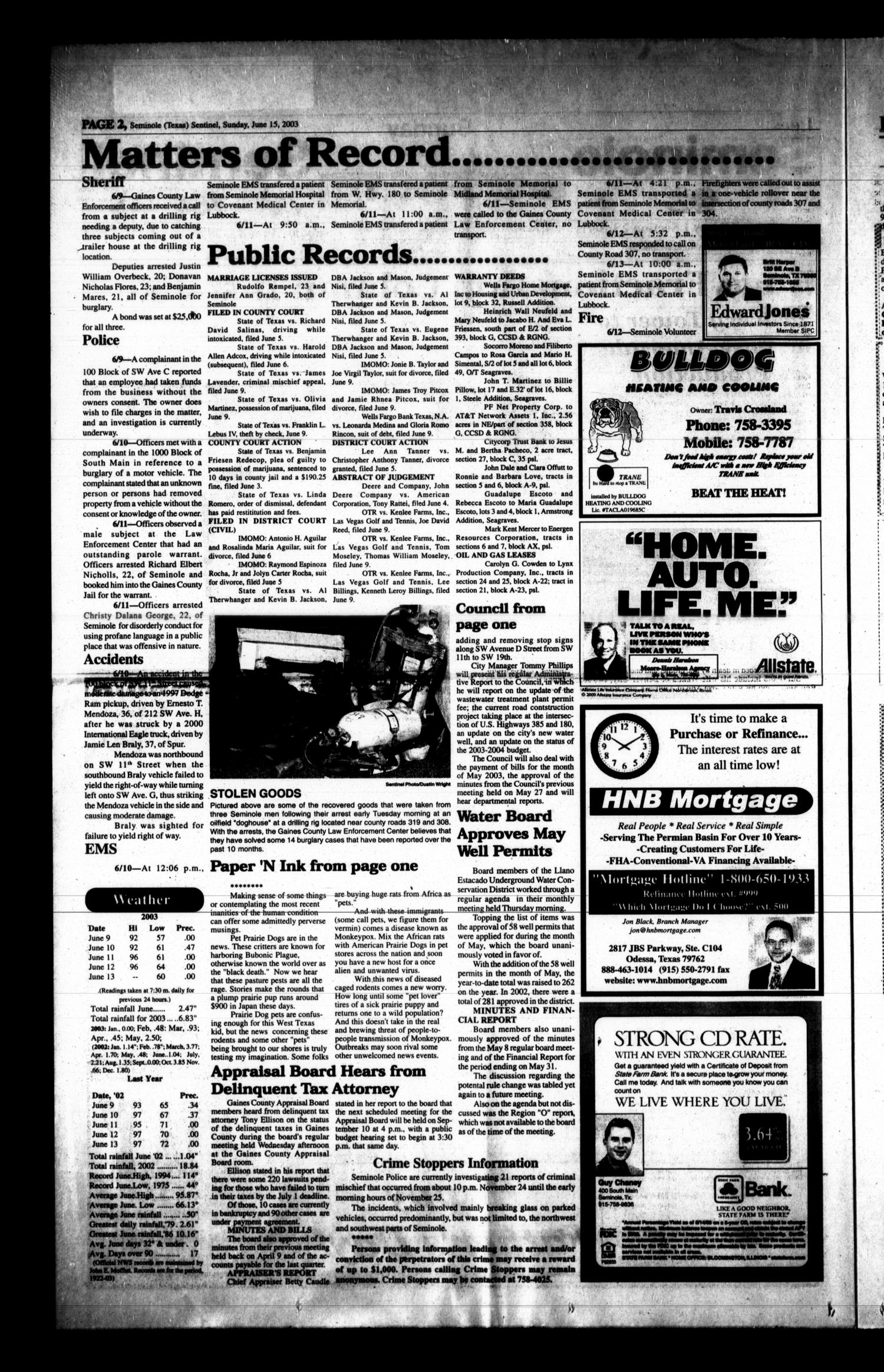 Seminole Sentinel (Seminole, Tex.), Vol. 95, No. 70, Ed. 1 Sunday, June 15, 2003                                                                                                      [Sequence #]: 2 of 12