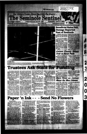 Primary view of object titled 'The Seminole Sentinel (Seminole, Tex.), Vol. 95, No. 55, Ed. 1 Wednesday, April 23, 2003'.