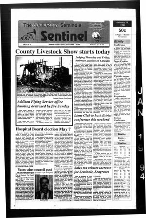 Primary view of object titled 'The Seminole Sentinel (Seminole, Tex.), Vol. 87, No. 25, Ed. 1 Wednesday, January 19, 1994'.