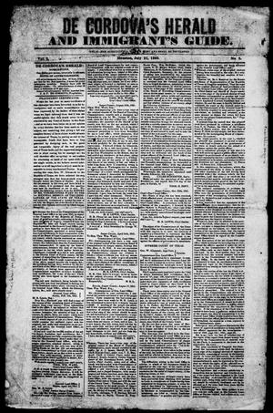 Primary view of object titled 'De Cordova's Herald and Immigrant's Guide. (Houston, Tex.), Vol. 1, No. 5, Ed. 1, Saturday, July 21, 1849'.