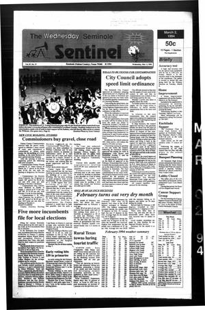 Primary view of object titled 'The Seminole Sentinel (Seminole, Tex.), Vol. 87, No. 37, Ed. 1 Wednesday, March 2, 1994'.