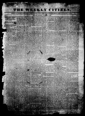 The Weekly Citizen. (Houston, Tex.), Vol. 1, No. 1, Ed. 1, Saturday, December 9, 1843