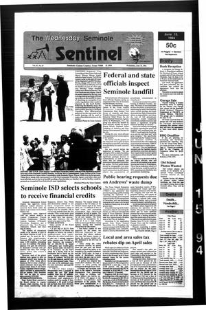 Primary view of object titled 'The Seminole Sentinel (Seminole, Tex.), Vol. 87, No. 67, Ed. 1 Wednesday, June 15, 1994'.