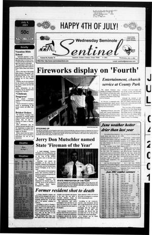 Primary view of object titled 'Seminole Sentinel (Seminole, Tex.), Vol. 94, No. 75, Ed. 1 Wednesday, July 4, 2001'.