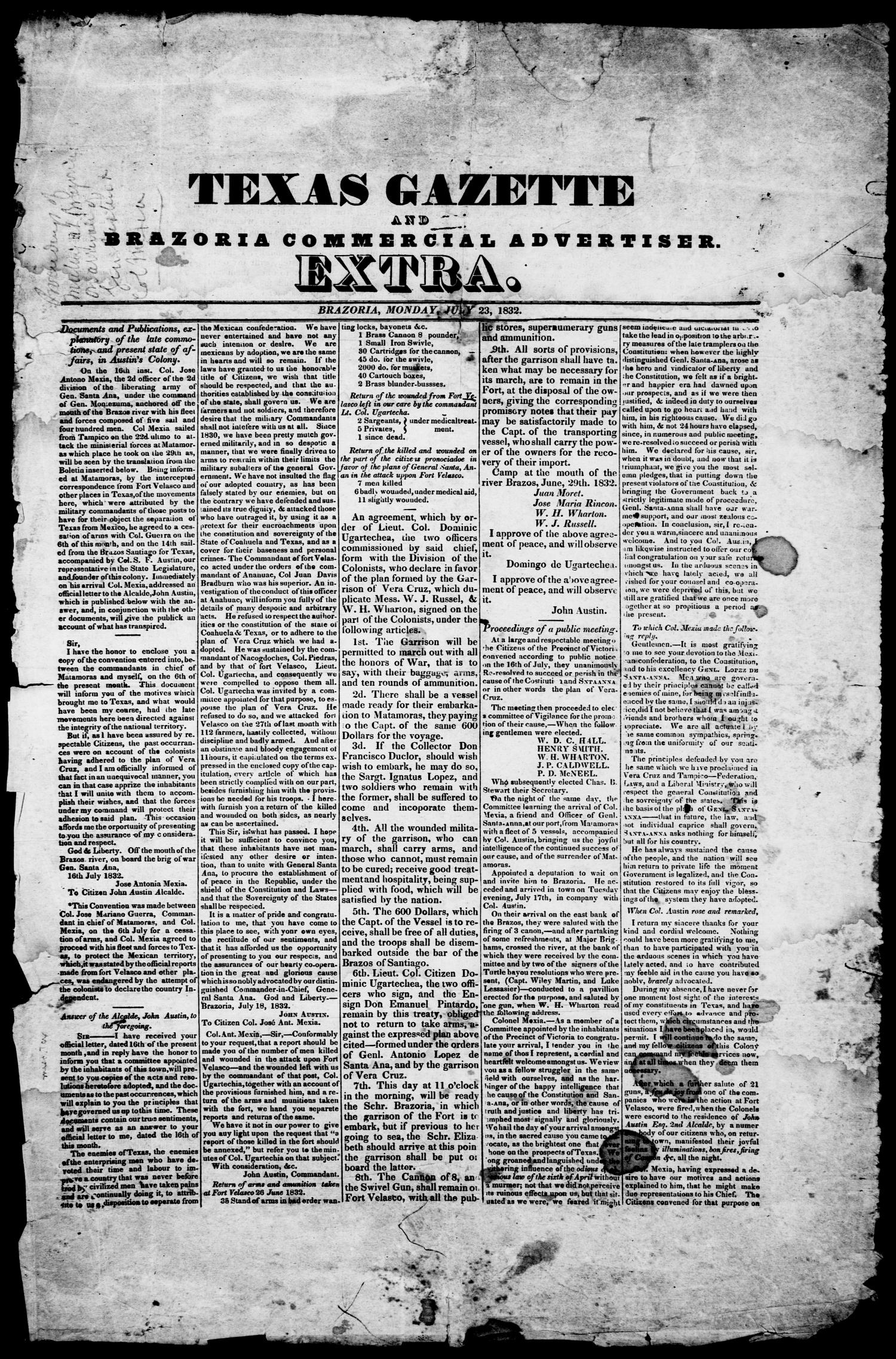 Texas Gazette and Brazoria Commercial Advertiser. (Brazoria, Tex.), Vol. 1, Ed. 1, Monday, July 23, 1832                                                                                                      [Sequence #]: 1 of 2