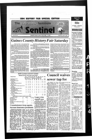 Primary view of object titled 'The Seminole Sentinel (Seminole, Tex.), Vol. 87, No. 49, Ed. 1 Wednesday, April 13, 1994'.