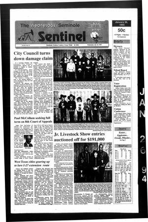 Primary view of object titled 'The Seminole Sentinel (Seminole, Tex.), Vol. 87, No. 27, Ed. 1 Wednesday, January 26, 1994'.