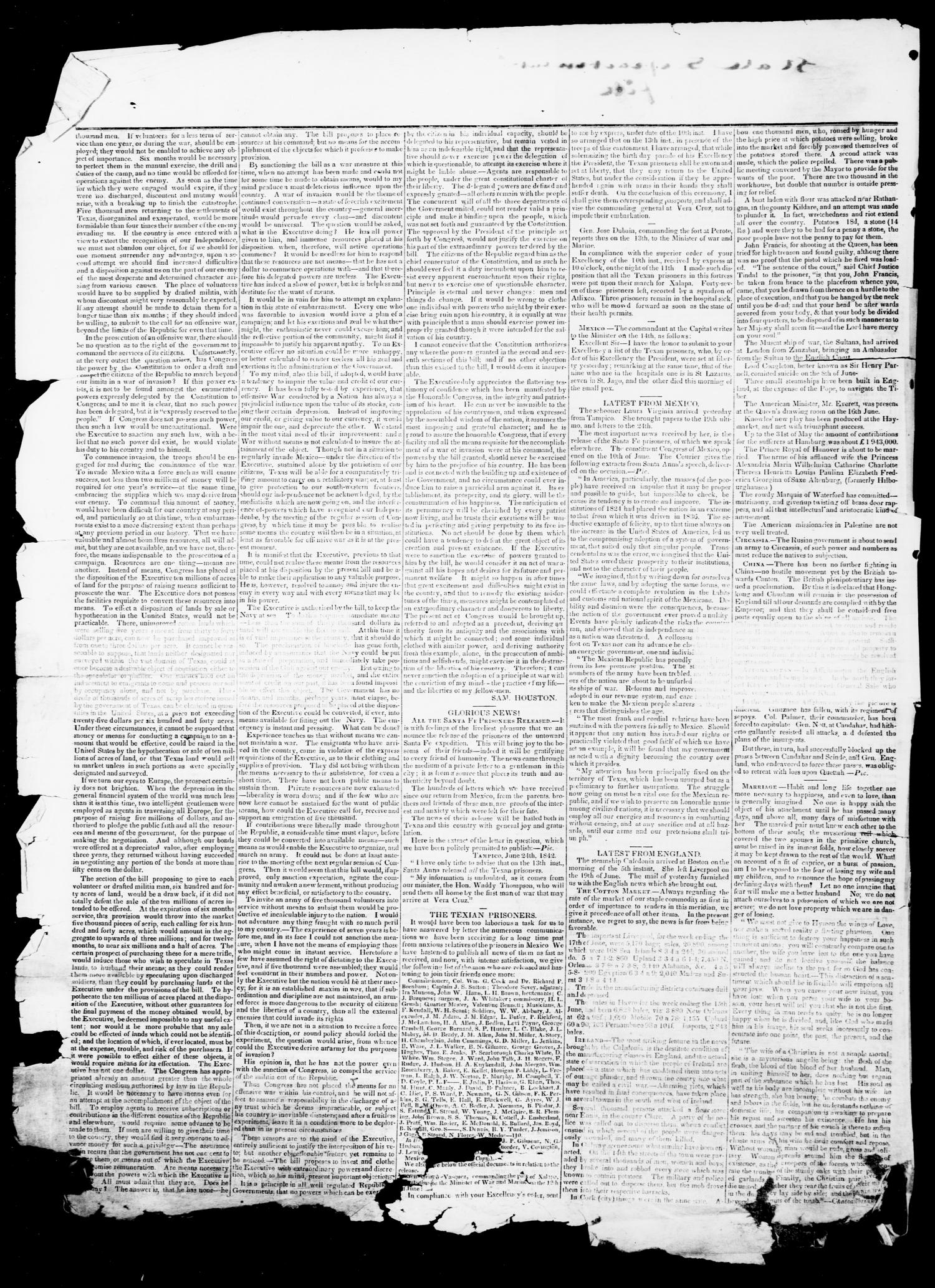 The Northern Standard. (Clarksville, Tex.), Vol. 1, No. 1, Ed. 1, Saturday, August 20, 1842                                                                                                      [Sequence #]: 2 of 4