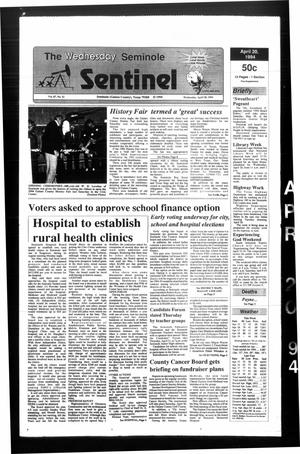 Primary view of object titled 'The Seminole Sentinel (Seminole, Tex.), Vol. 87, No. 51, Ed. 1 Wednesday, April 20, 1994'.