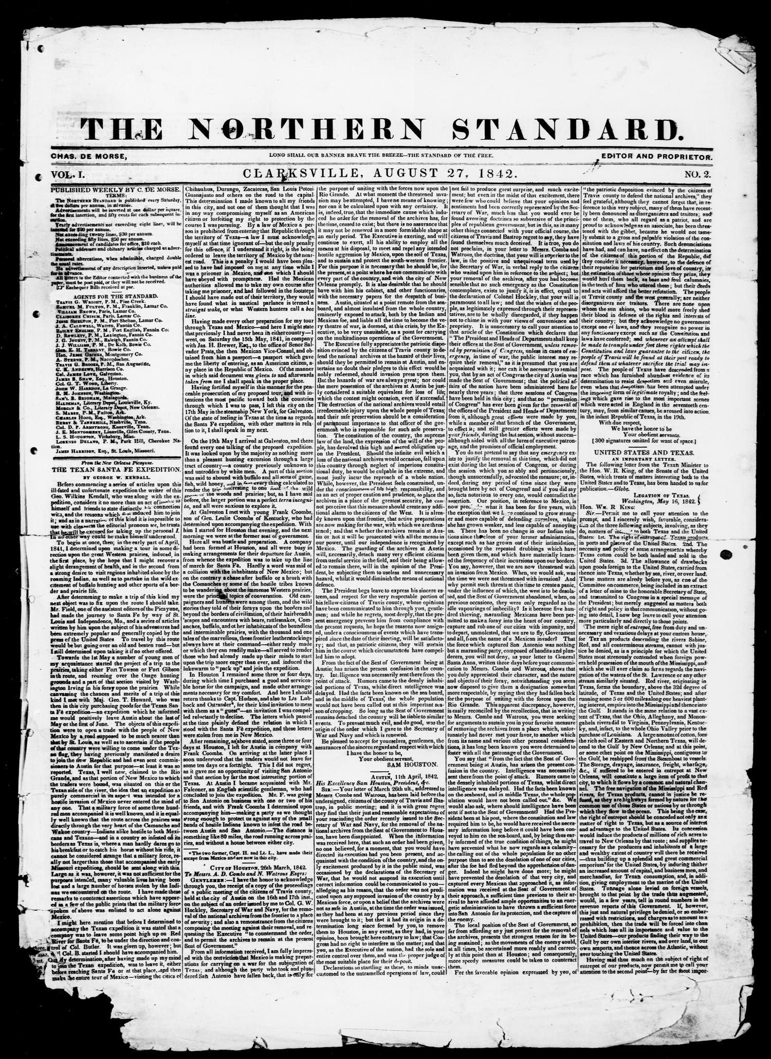 The Northern Standard. (Clarksville, Tex.), Vol. 1, No. 2, Ed. 1, Saturday, August 27, 1842                                                                                                      [Sequence #]: 1 of 4