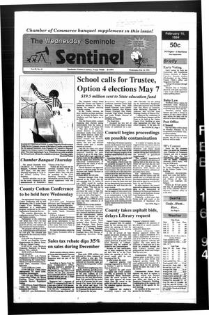 Primary view of object titled 'The Seminole Sentinel (Seminole, Tex.), Vol. 87, No. 33, Ed. 1 Wednesday, February 16, 1994'.