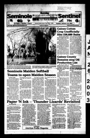 Primary view of object titled 'Seminole Sentinel (Seminole, Tex.), Vol. 95, No. 30, Ed. 1 Sunday, January 26, 2003'.