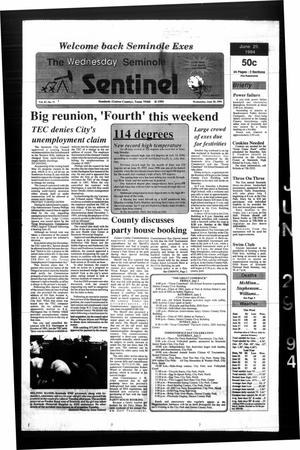 Primary view of object titled 'The Seminole Sentinel (Seminole, Tex.), Vol. 87, No. 71, Ed. 1 Wednesday, June 29, 1994'.